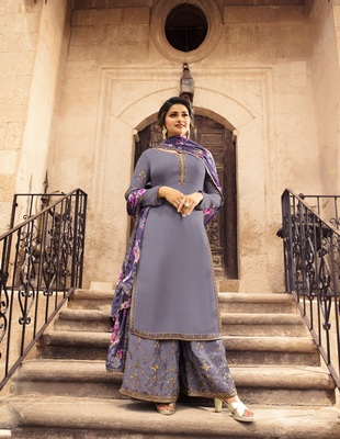 Grey embroidered Satin semi stitched salwar with dupatta