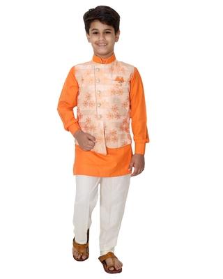 Orange printed cotton silk boys-kurta-pyjama
