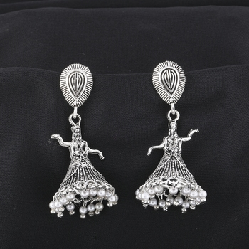 Attractive Silver Dancing Women Jhumki Earrings