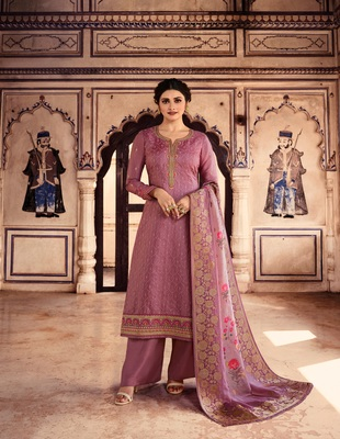 Pink embroidered silk blend semi stitched salwar with dupatta