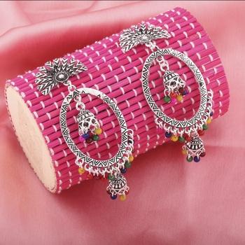 Beautiful Multicolor Oval  Double Dangler Earrings