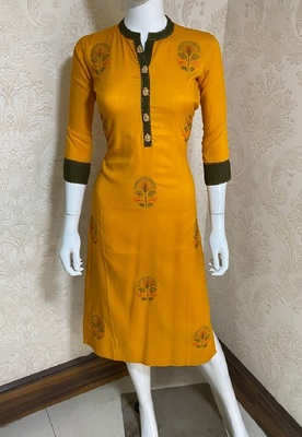 Yellow embroidered rayon short-kurtis