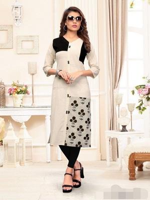 Off-white printed cotton diwali-kurtis