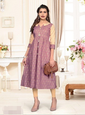 Light-purple printed cotton cotton-kurtis