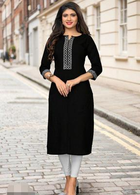 Black plain cotton short-kurtis