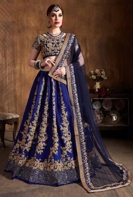 Navy Blue Embroidered Silk Semi Stitched Lehenga With Dupatta