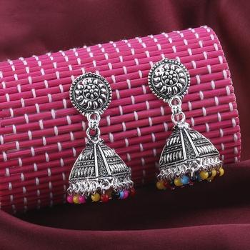 Pretty Multicolor Round Triangle Jhumki Earrings