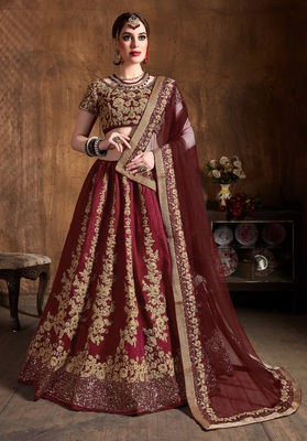 MAROON EMBROIDERED SILK SEMI STITCHED LEHENGA WITH DUPATTA
