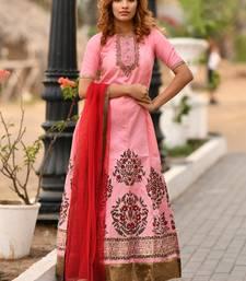 Baby-pink embroidered silk salwar