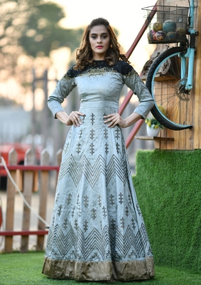 Grey embroidered silk salwar
