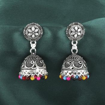 Ravishing Multicolor Flower and Beads Jhumki Earrings