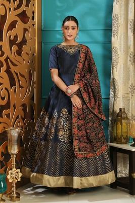 Navy-blue foilage print silk salwar