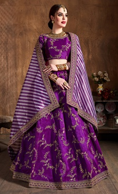 Purple Embroidered Silk Semi Stitched Lehenga With Dupatta