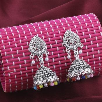 Gorgeous  Multicolor Beads Stylish Jhumki Earrings