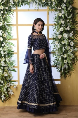 Navy-blue embroidered net semi stitched lehenga