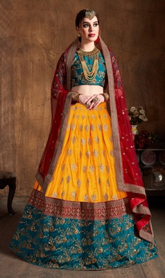 YELLOW EMBROIDERED SILK SEMI STITCHED LEHENGA WITH DUPATTA