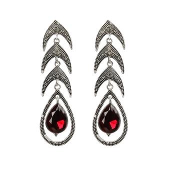 Elegant Red Big Diamond Leaf Shape Earrings