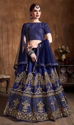 NAVY BLUE EMBROIDERED ART SILK SEMI STITCHED LEHENGA WITH DUPATTA