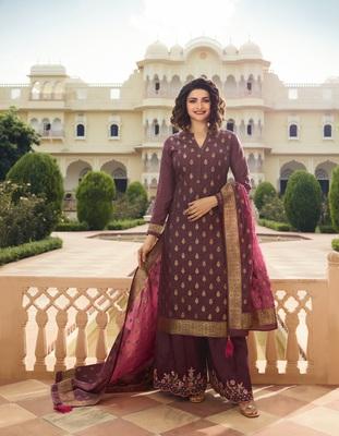 Purple embroidered silk blend semi stitched salwar with dupatta