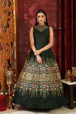 Dark-green sequins silk salwar