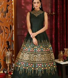 Dark-green sequins silk salwar