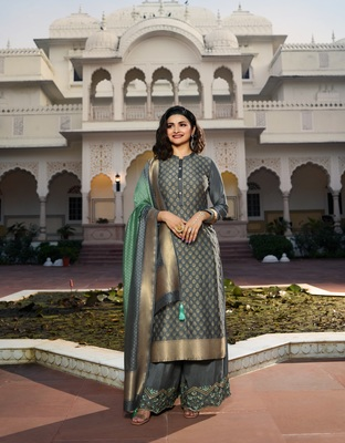 Grey Embroidered Silk Blend Semi Stitched Salwar With Dupatta
