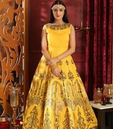 Yellow foilage print silk salwar