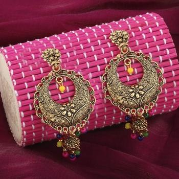 Appealing Multicolor Round  Dangle Jhumki Earrings