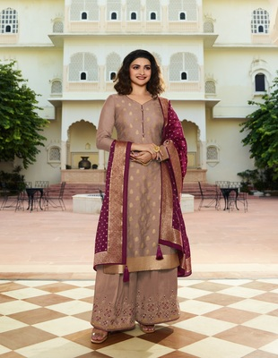 Beige embroidered silk blend semi stitched salwar with dupatta