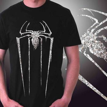 Spider Mens Glitter T-shirt at Offer,Mens Silver Special Effect Tshirt
