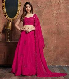 Pink Embroidered Georgette Semi Stitched Lehenga With Dupatta