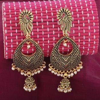 Facinating Golden Peacock Stud  Dangle Earrings