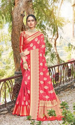 Sangam Prints Red Dola Silk Zari Work Traditional Saree