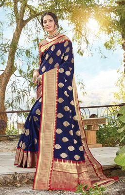 Navy Blue Dola Silk Zari Work Traditional Saree