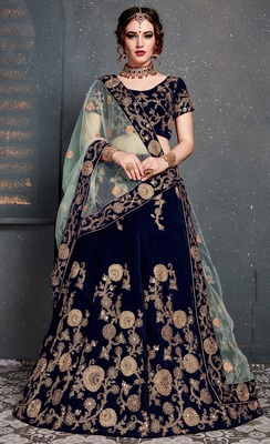 NAVY BLUE EMBROIDERED VELVET SEMI STITCHED LEHENGA WITH DUPATTA