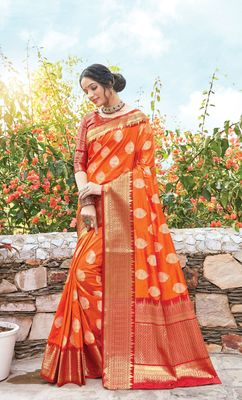 Orange Dola Silk Zari Work Traditional Saree