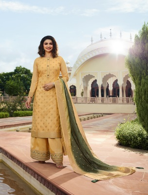 Yellow embroidered silk blend semi stitched salwar with dupatta