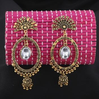 Eye-Catching Golden Round  Dangle Jhumki Earrings