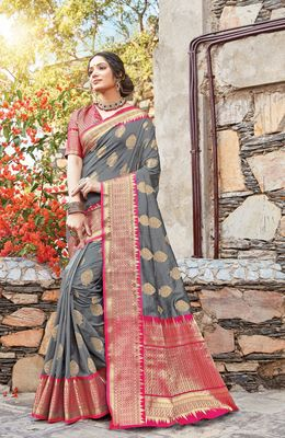 Grey Dola Silk Zari Work Traditional Saree