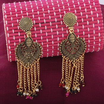 Alluring Multicolor Designer Long Tassel Earrings