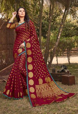 Maroon Handloom Silk Zari Work Traditional Saree