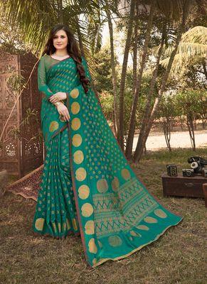 Rama Green Handloom Silk Zari Work Traditional Saree