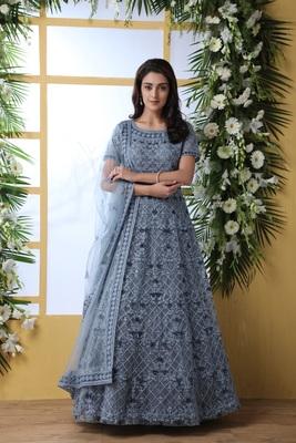 Grey thread embroidery net salwar