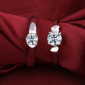 Silverplated Stylist Solitaire Love His and Her Adjustable proposal couple ring For Men And Women Jewellery