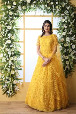Yellow thread embroidery net salwar