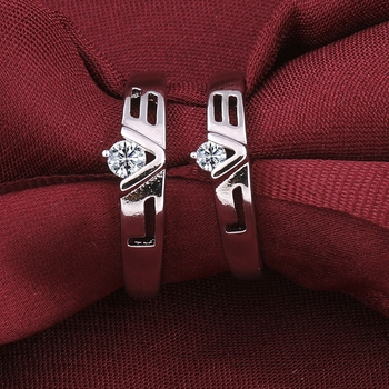 Silverplated Simbol Of Love Solitaire His And Her Adjustable Proposal Couple Ring For Men And Women Jewellery