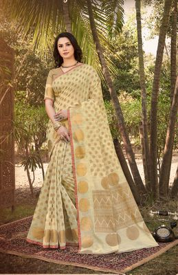 Beige Handloom Silk Zari Work Traditional Saree