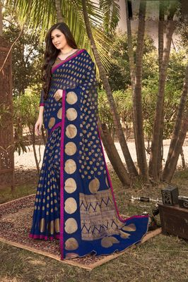 Sangam Prints Navy Blue Handloom Silk Zari Work Traditional Saree