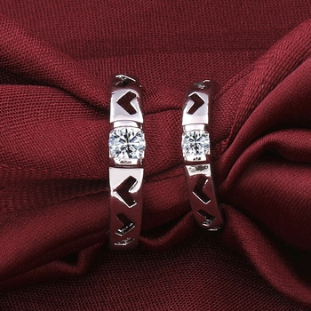 Silverplated Fashionista Solitaire  His and Her Adjustable proposal couple ring For Men And Women Jewellery