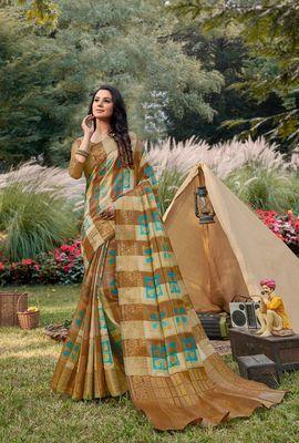 Sangam Prints Beige Handloom Silk Zari Work Traditional Saree